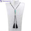 Bohemian Jewelry Black Small Beads Mix Turquoise Double Tassel Necklace Women