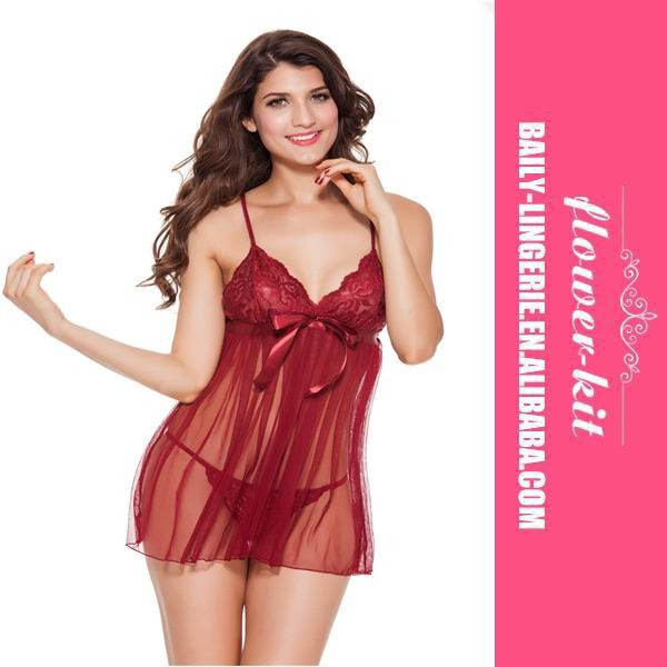 New Fashion Sexy Transparent Purplish Red Babydoll Sexy Tube Lingerie Babydoll