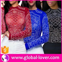 Designer sequined tops ladies transparent tops latest design stylish tops for women