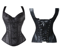 Women's Sexy Gothic Black Jacquard Shoulder Straps Tank Overbust Corset Bustiers