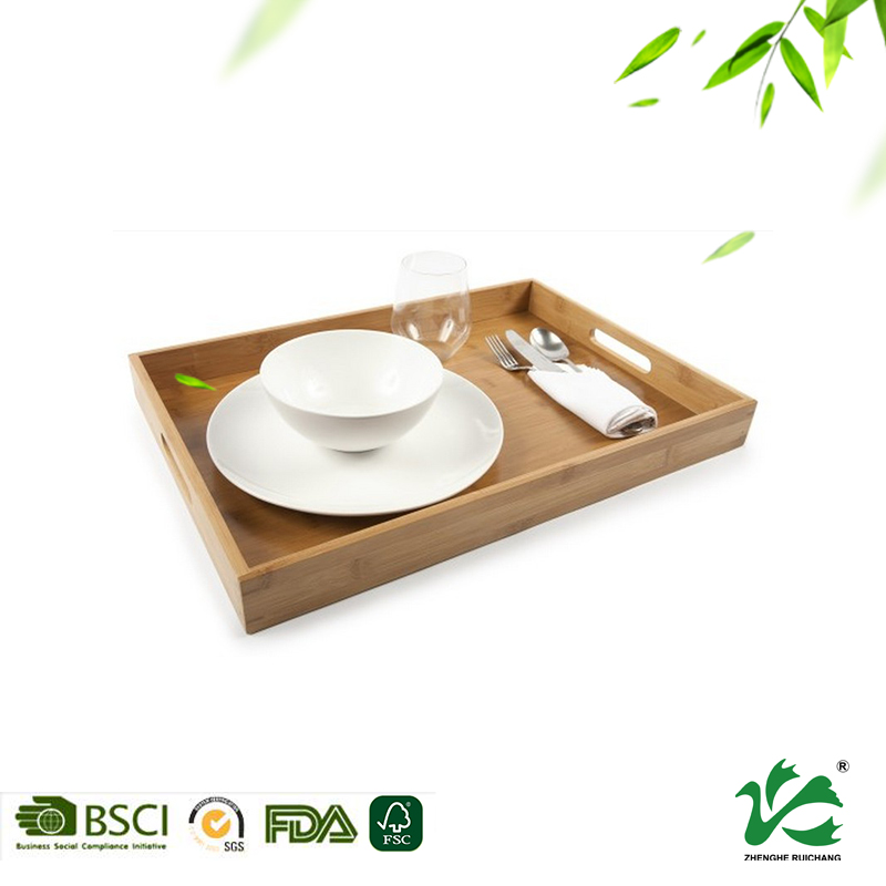 Hot sale customized color bamboo wooden food serving tray