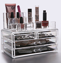 Acrylic cosmetics organizer and acrylic jewelry box with 4 drawer for makeup organizing use.