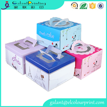 wholesale cheap party cake package eco-friendly paper box with carry handle