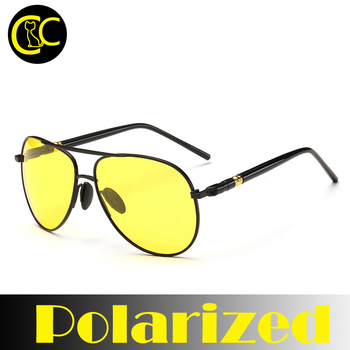 Polarized Sunglasses Night Vision Goggles men's car Driving Glasses Anti-glare Silver/Black Alloy Frame glasses CC0112