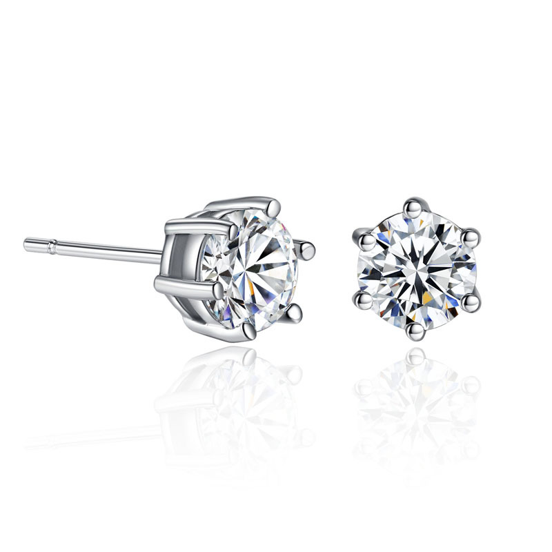 Six Claws 6mm 0.5ct Stellux CZ Platinum plated Stud <strong>Earrings</strong> Jewelry Crystal Cubic zirconia <strong>earrings</strong> Wholesale