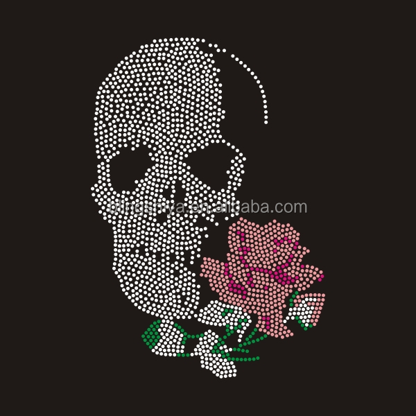 Skeleton With Flower Rhinestone Transfers For Halloween
