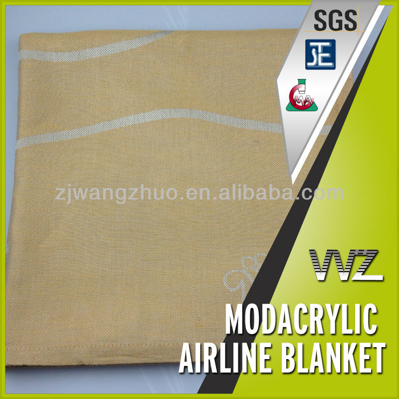 100% Modacrylic flame retardant airline blanket with jacquard logo first class top quality