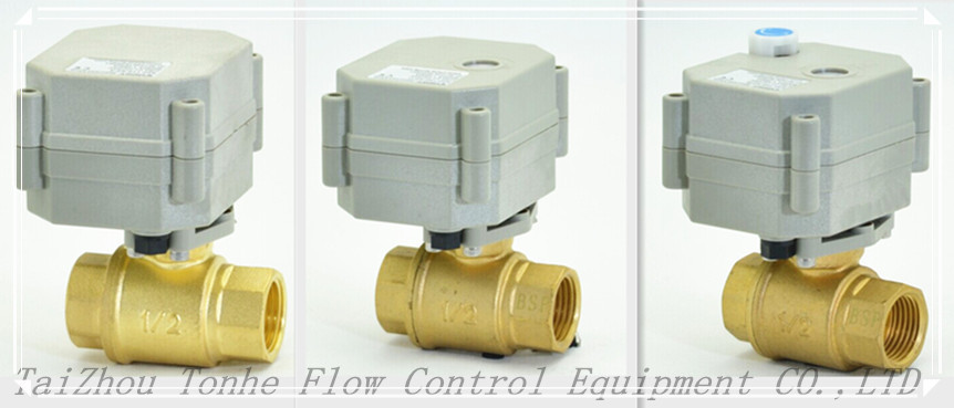 New DC3V/5V/12V 1/2'' Brass Electric Motorized Valve (T15-B2-A)