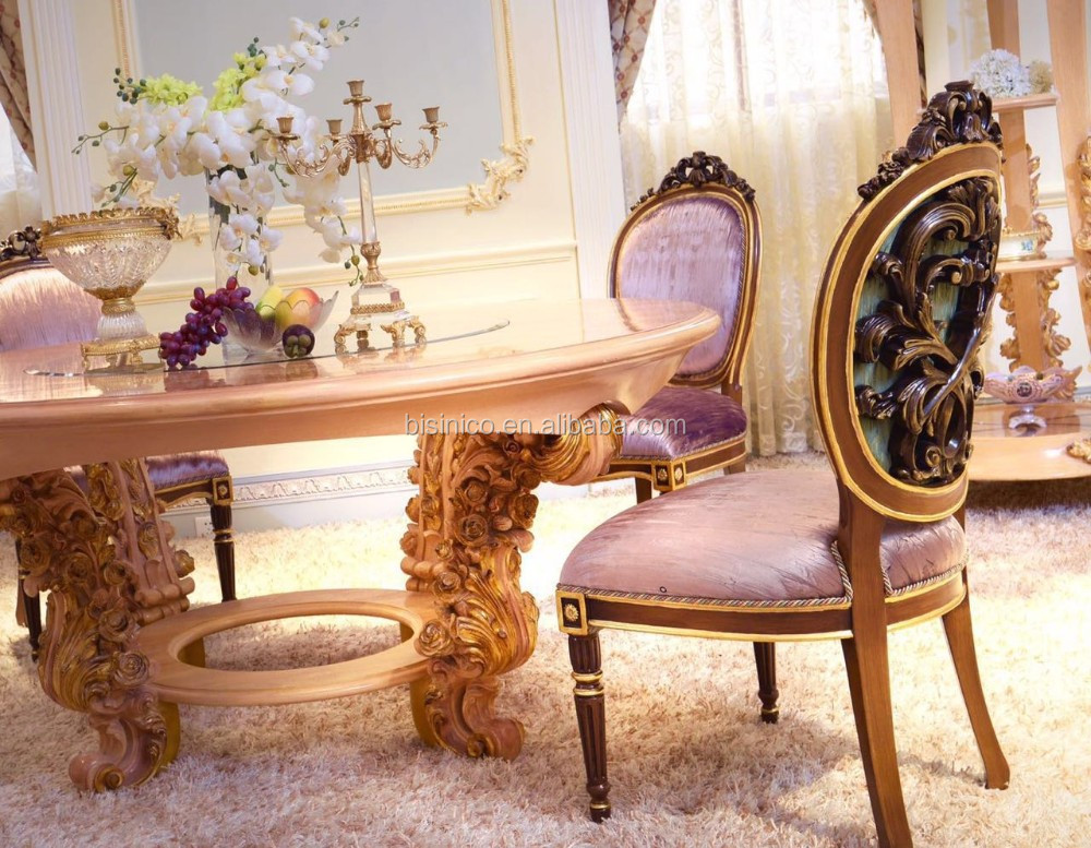 Luxury French Neoclassical Roze Wooden Carving Round Dining Table For 4 People/ European Palace Elegant Dining Room Furniture