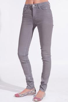 Women slim fit pencil denim /ladies coated skinny jeans / grey ...