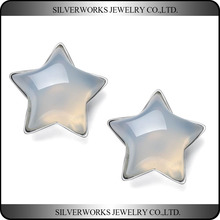 Unique 925 Sterling Silver Transparent Pentacle Aran White Stone Stud Earrings