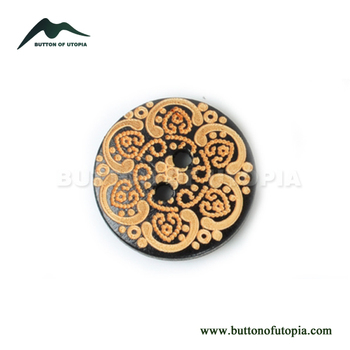 32L 2-hole black laser wood button for woman's clothing