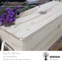 HONGDAO unfinished wooden wine box, custom made unfinished wooden wine box with sliding lid manufacture