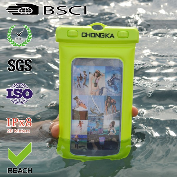 Rubber plastic cell phone bag waterproof pouch for samsung galaxy note s3