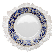 HOSEN 28 Chinese Blue Flower Wedding Bone china Dinner <strong>Plate</strong> With Gold Rim, Blue And White Tableware Bone China~