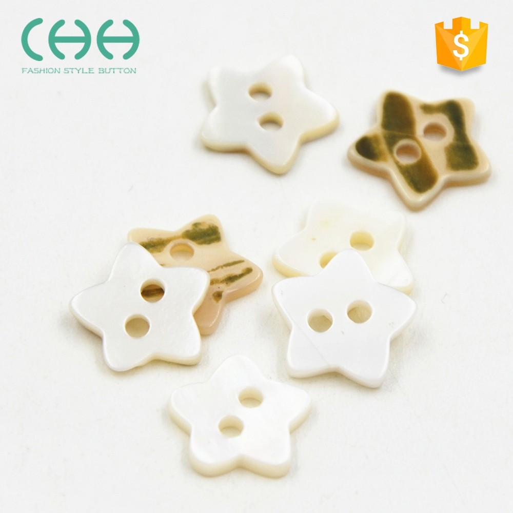 Factory outlets white star shaped eco-friendly shirt shell buttons