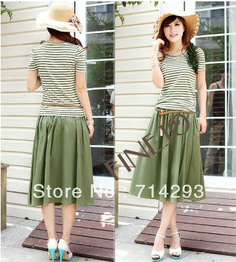 Europe Women's bohemian Fashion Stripe Short Sleeve Tops T-shirt + Long Skirt With Waistband 14214