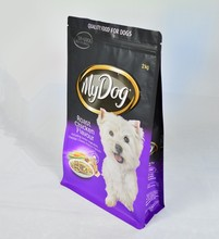 high quality stand up pet food packing flat bottom pouch with zipper