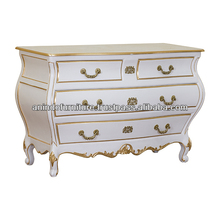 French Curved White Painted Commode with Drawers