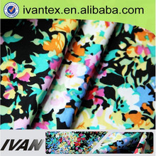 IVANTEXTILE Cheap Weft Knitting Single Jersey Polyester FDY Four Way Stretch Floral Lycra Printed Fabric for Women Garment