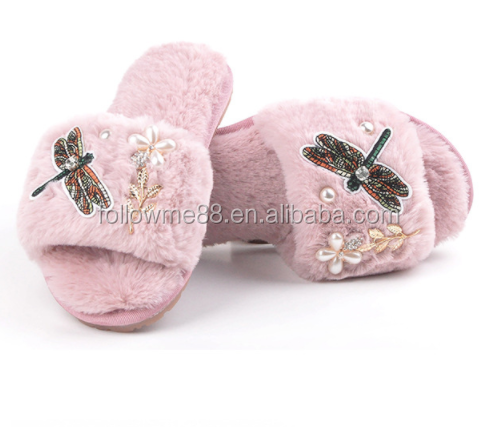 autumn winter fur warm Thick-bottomed slippers Korea version Flower flat flops plush embroidered of the flat head bales slippers