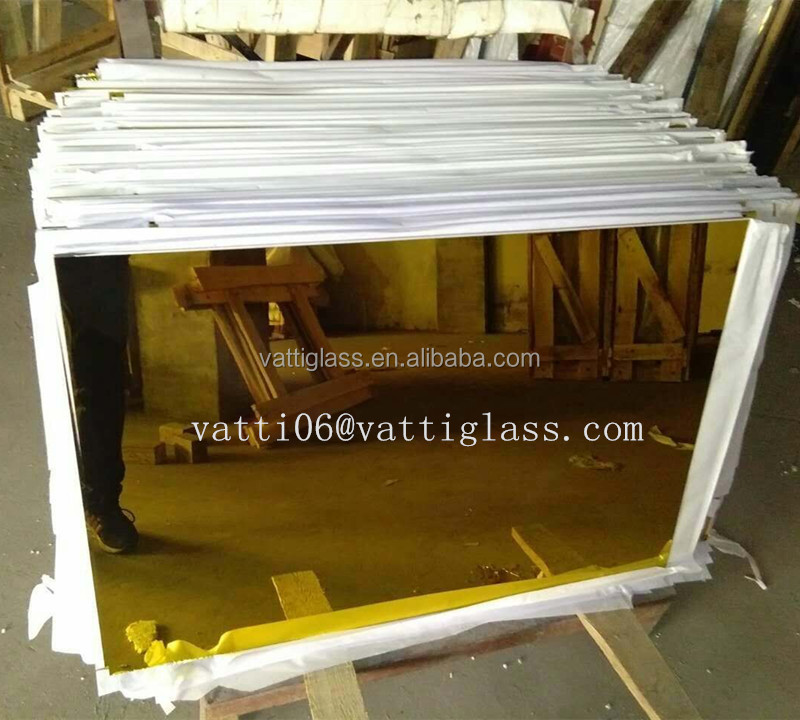 Manufacturer Top Quality Safety Tinted Glass Color Mirror,Large Gold Color Mirror