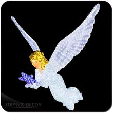 Hot Wedding Table Decoration White Acrylic Angel With Feather Wings