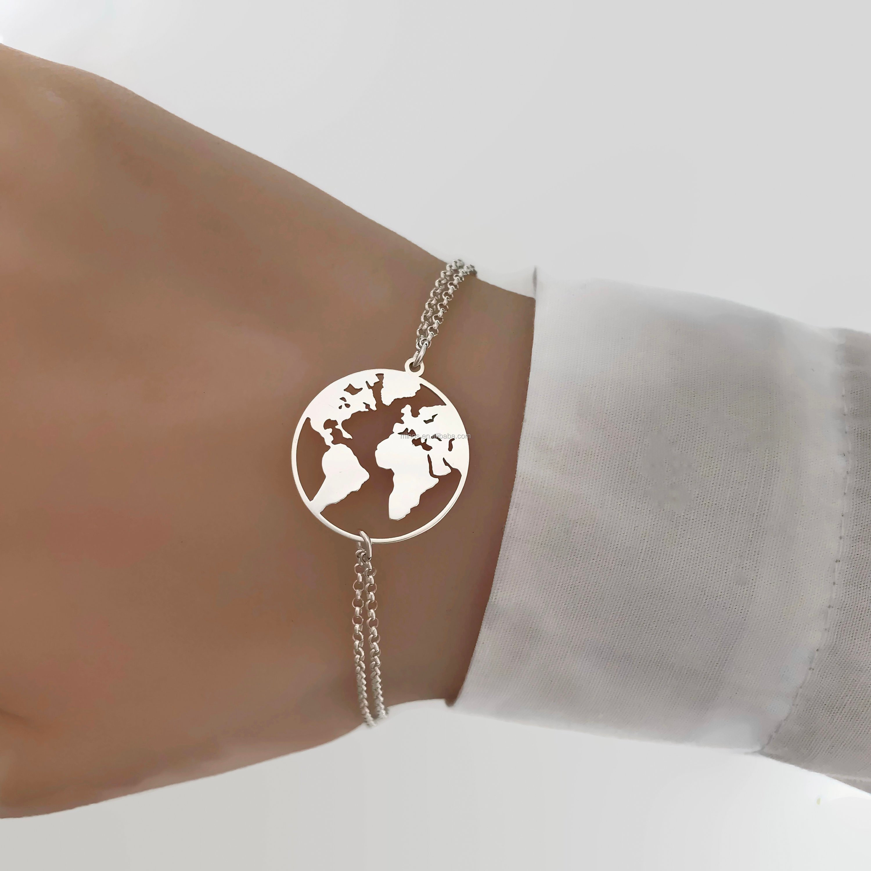 New Design Adjustable Bracelet Stainless Steel World Map Bracelet
