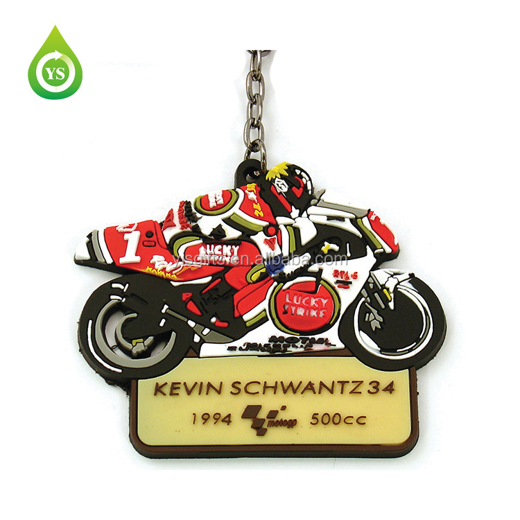 Custom made motorcycle racing rubber keychain