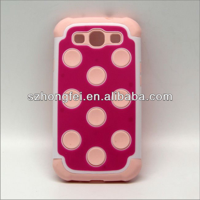 hot selling pc+silicone circle dot cell phone cover for samsung galaxy s3