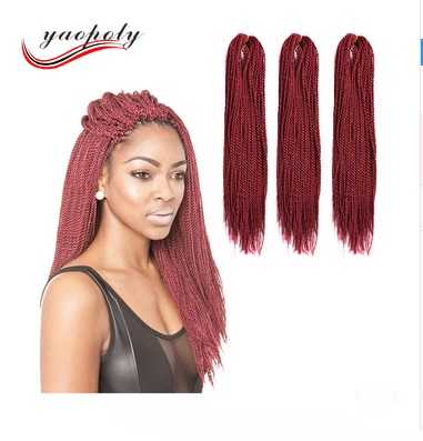 "2017 New braiding 18"" ombre synthetic hair crochet hnd mading twist braid two tone long senegal twists braid for black women"