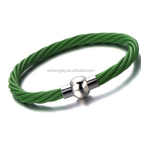 Green Leather Bracelet With Magnet Clasp