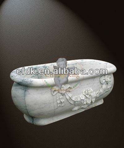 Flower Decorative White Marble Tub