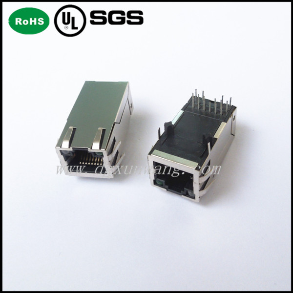 single port rj45 connector plug poe rj45 jack for pcb with 10/100base-t