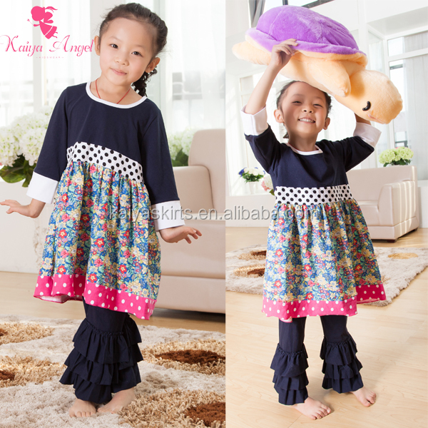 New Arrive Spring Design outfit girls ruffle pants set school girls Spring Design outfit