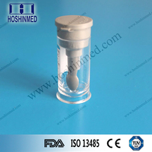 Medical supply fecal container sample collection container with snap cap peacked spoon
