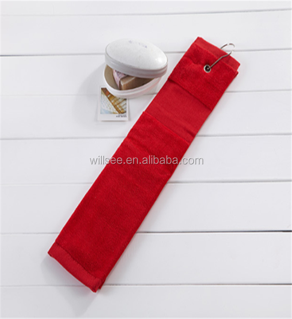 ST-8,tri-fold cotton golf towel with grommet