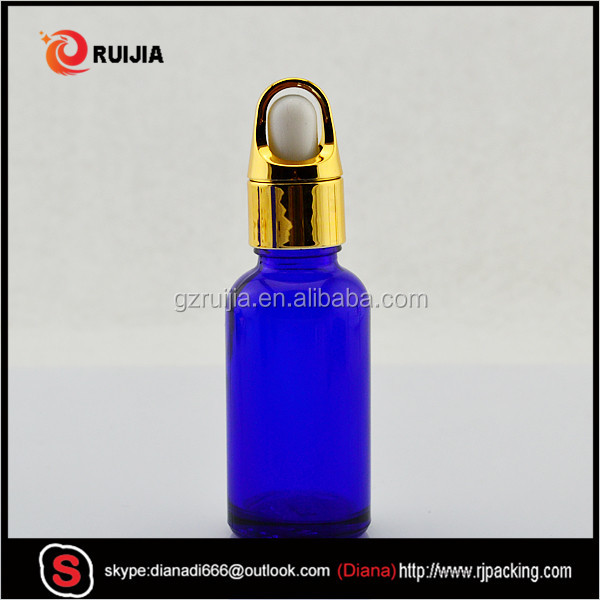 30ml blue color glass dropper bottle for essential oil with a variety of caps
