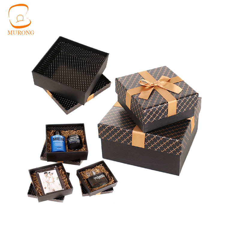 Classic black paper gift box with ribbon