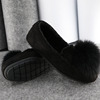 Comfortable Slip-On Style PU Upper Flannel Black Women Flat Shoes