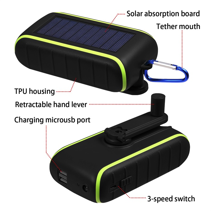 Best Xmas gifts external flashlight mobile power bank + hand generator + solar power li-ion battery charger