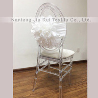 Taffeta Big White Flower Chair Sash