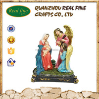 Resin craft religious ornaments holy family mary and baby jesus statue and angel statue