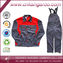 65% Cotton 35% Polyester Twill 230GSM Long Sleeves Red+Grey Plus Size Uniforms Construction Workwear
