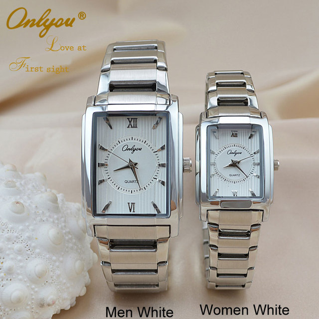 Onlyou Brand Luxury Wrist Rectangle Watches Ladies Women Men Quartz Stainless Steel Dress Quality Watch Gold Silver Clock  8809