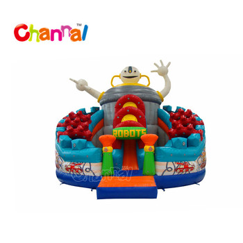 Robots theme slide bouncer slide for kids giant inflatable slide for sale