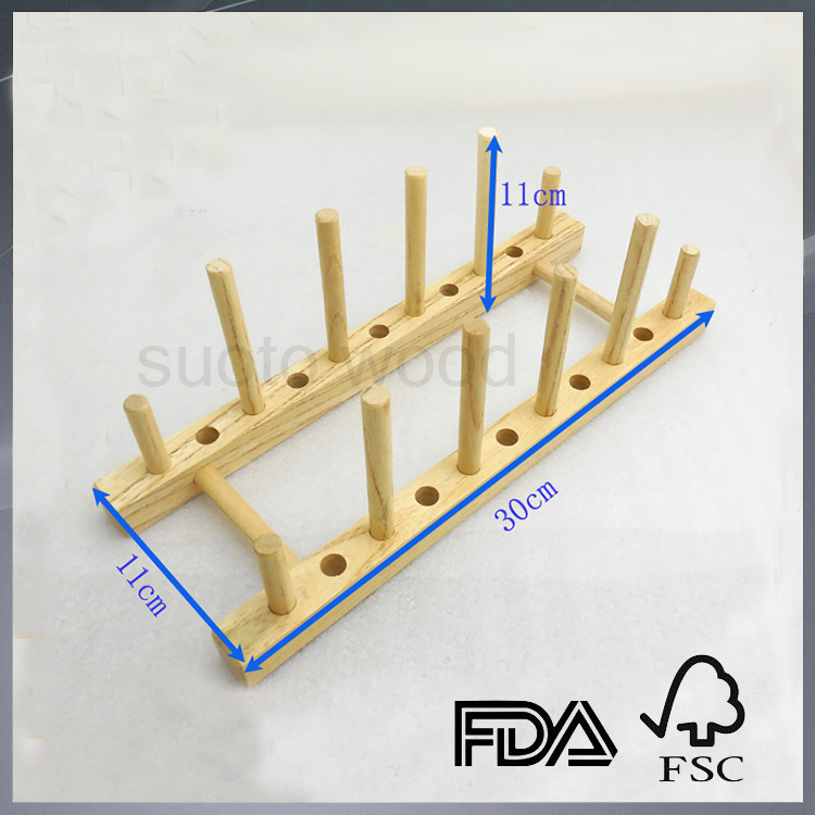 Wooden dish drying rack plate drying storage dish drainer