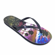 Customizable designer heat transfer printing wholesale summer beach wedding party slippers womens black flip flops