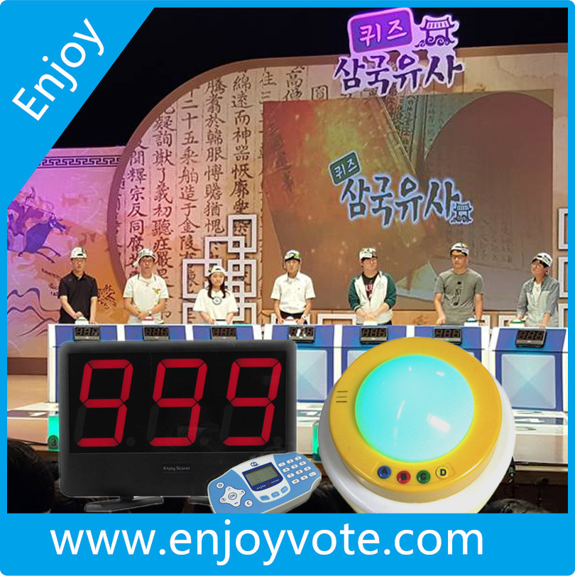 Game Show euipment, wireless game buzzer, voting system and scoreboard.