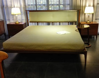 Lastest double bed designs luxury leather bed wooden bed